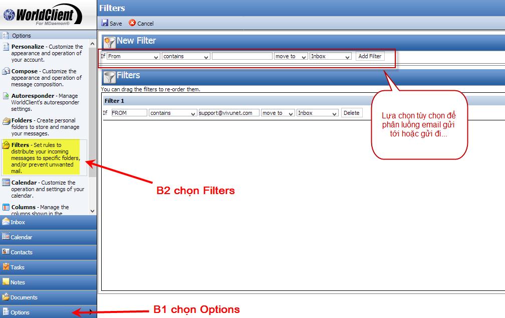 Hướng dẫn phân luồng email trong webmail worldclient mdeamon