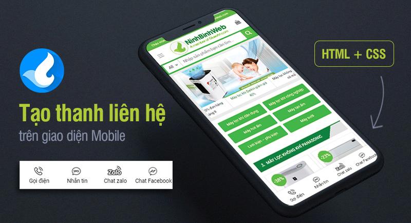 Tạo thanh liên hệ nhanh gồm nút Gọi điện, Nhắn tin, Chat Zalo và Chat Messenger